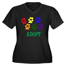 Rainbow Paws Women's Plus Size Dark V-Neck T-Shirt