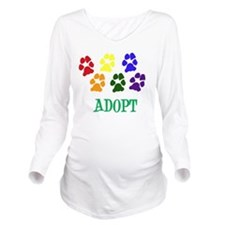 Rainbow Paws Adopt Long Sleeve Maternity T-Shirt