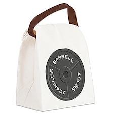 Clock Barbell45lb Canvas Lunch Bag