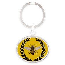Stylized Bee_N_Honeycomb Oval Keychain