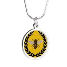 Stylized Bee_N_Honeycomb Silver Round Necklace