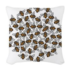Little Bee Swarm Woven Throw Pillow