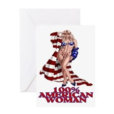 100% AMERICAN WOMAN Greeting Card