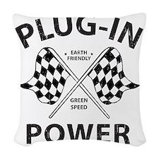 Vintage Hybrid Car Plug In Pow Woven Throw Pillow