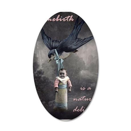 bird delivery 7x10 35x21 Oval Wall Decal