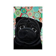 Black Pug circles Rectangle Magnet