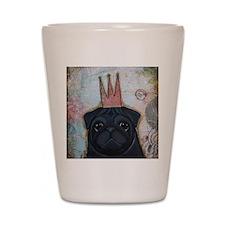 Black Pug Crowned Shot Glass