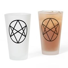 unihextransblackcirc Drinking Glass