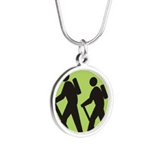 hikers Silver Round Necklace