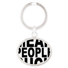 2-5x2-5_black Oval Keychain