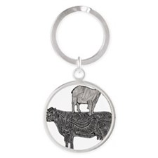 Goat on cow-2 Round Keychain