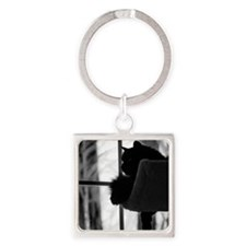 Kitty in the Window Square Keychain