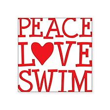 "peace love swim red Square Sticker 3"" x 3"""