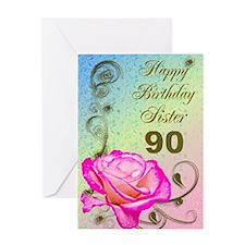 90th birthday card for sister, Elegant rose Greeti