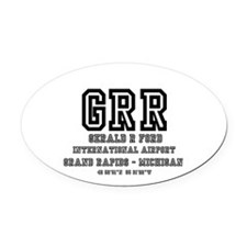 AIRPORT CODES - GRR - GERALD R FOR Oval Car Magnet