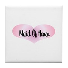 Maid Of Honor - Pink Heart Tile Coaster