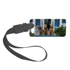 3 Airedale on porchlljkjgf Luggage Tag
