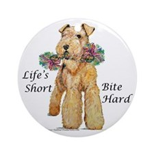 Bite Hard Airedale! Ornament (Round)