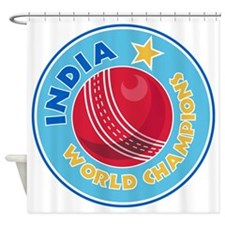 india world champions cricket ball Shower Curtain