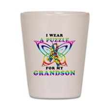 I Wear A Puzzle for my Grandson Shot Glass