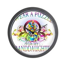I Wear A Puzzle for my Granddaughter (f Wall Clock