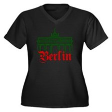 Berlin Brand Women's Plus Size Dark V-Neck T-Shirt