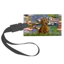 LIC-Lilies2 - Brown Dachshund (2 Luggage Tag