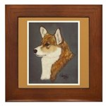 Corgi Head Study Framed Tile
