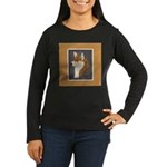 Corgi Head Study Women's Long Sleeve Dark T-Shirt