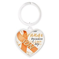 I Wear Orange Because I Love My Son Heart Keychain
