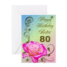 80th birthday card for sister, Elegant rose Greeti