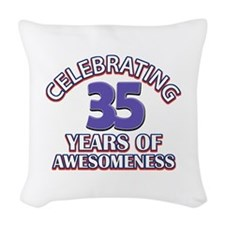 Awesome at 35 birthday designs Woven Throw Pillow
