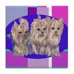3 Yorkie Puppies Tile Coaster