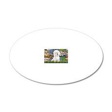 LIC-Lilies2-BichonFrise3 20x12 Oval Wall Decal