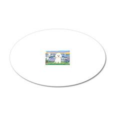 LIC-SunriseLilies-Bichon 2 20x12 Oval Wall Decal