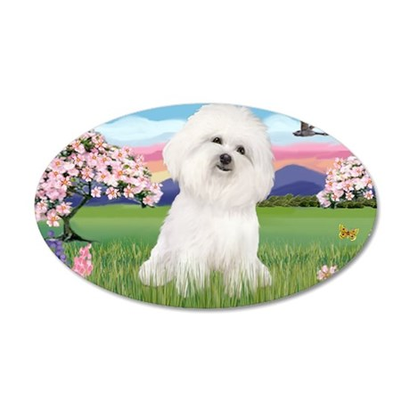 LIC-BLossoms-Bichon 4 35x21 Oval Wall Decal