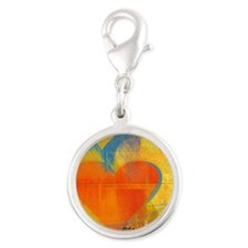patchwork love ripple Silver Round Charm