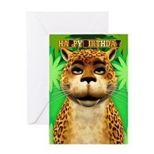 Leopard In The Jungle Birthday Greeting Card