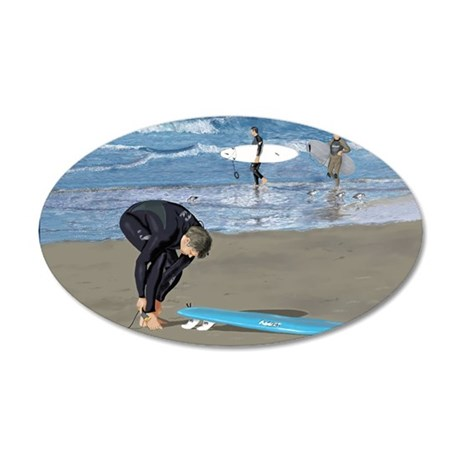 Surfers Wall poster 35x21 Oval Wall Decal