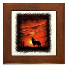 Coyote Howling Framed Tile