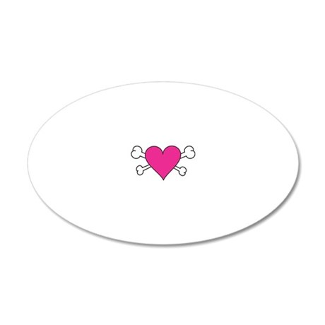 Skull Heart 20x12 Oval Wall Decal