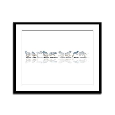 Frog Line Up Framed Panel Print