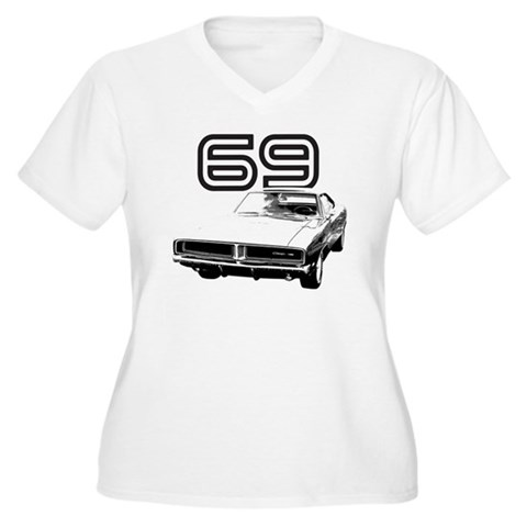 1969 Charger Women's Plus Size Dark V-Neck T-Shirt