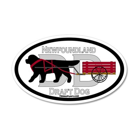 Newfoundland Draft Dog Title 35x21 Oval Wall Decal