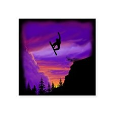 "Snowboarder Off Cliff Square Sticker 3"" x 3"""
