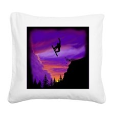 Snowboarder Off Cliff Square Canvas Pillow