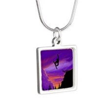 Snowboarder Off Cliff Silver Square Necklace