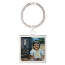 Easter girl final square Square Keychain
