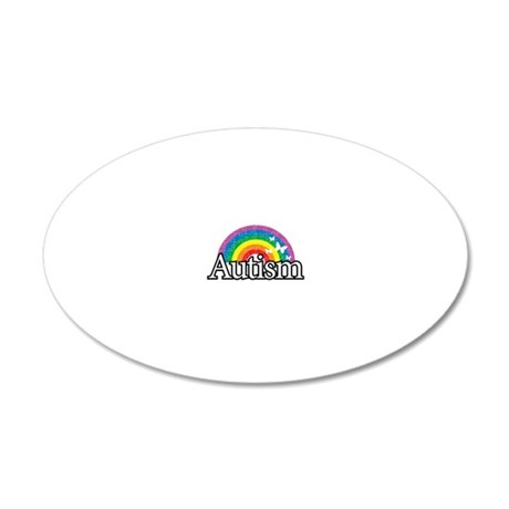 Autism-Rainbow-2-blk 20x12 Oval Wall Decal