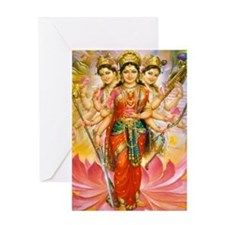 Tridevi_Hindu_Three_Goddesses_Stadiu Greeting Card